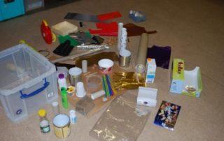 Materialsammlung für den Bau des Raumschiffs